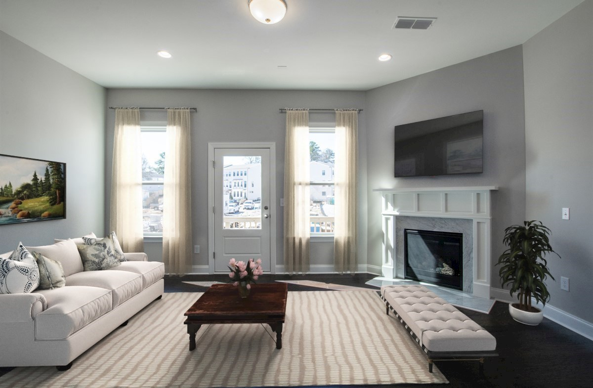 Morningside Towns Piedmont II Family Room with fireplace