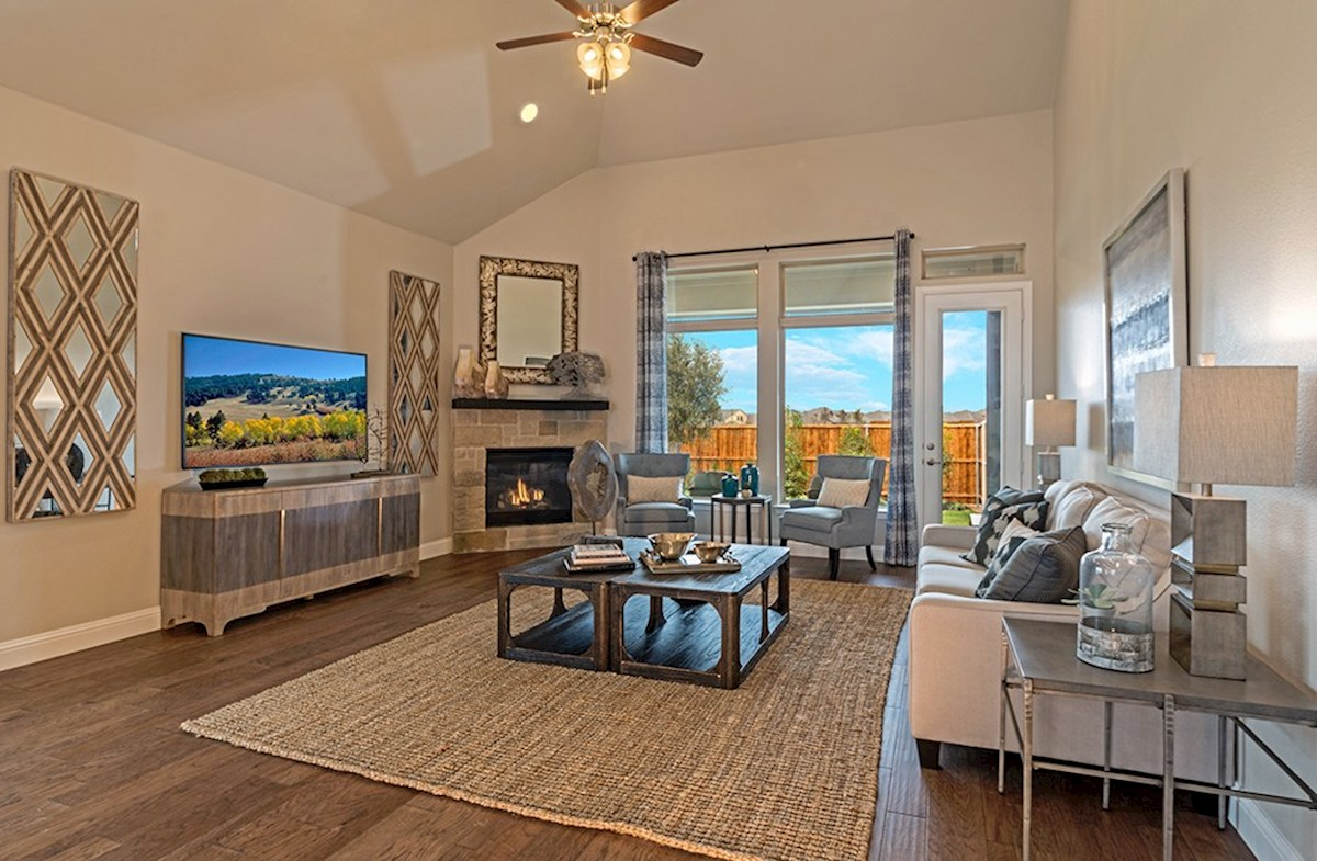 Glen View Brighton great room features fireplace and natural lighting