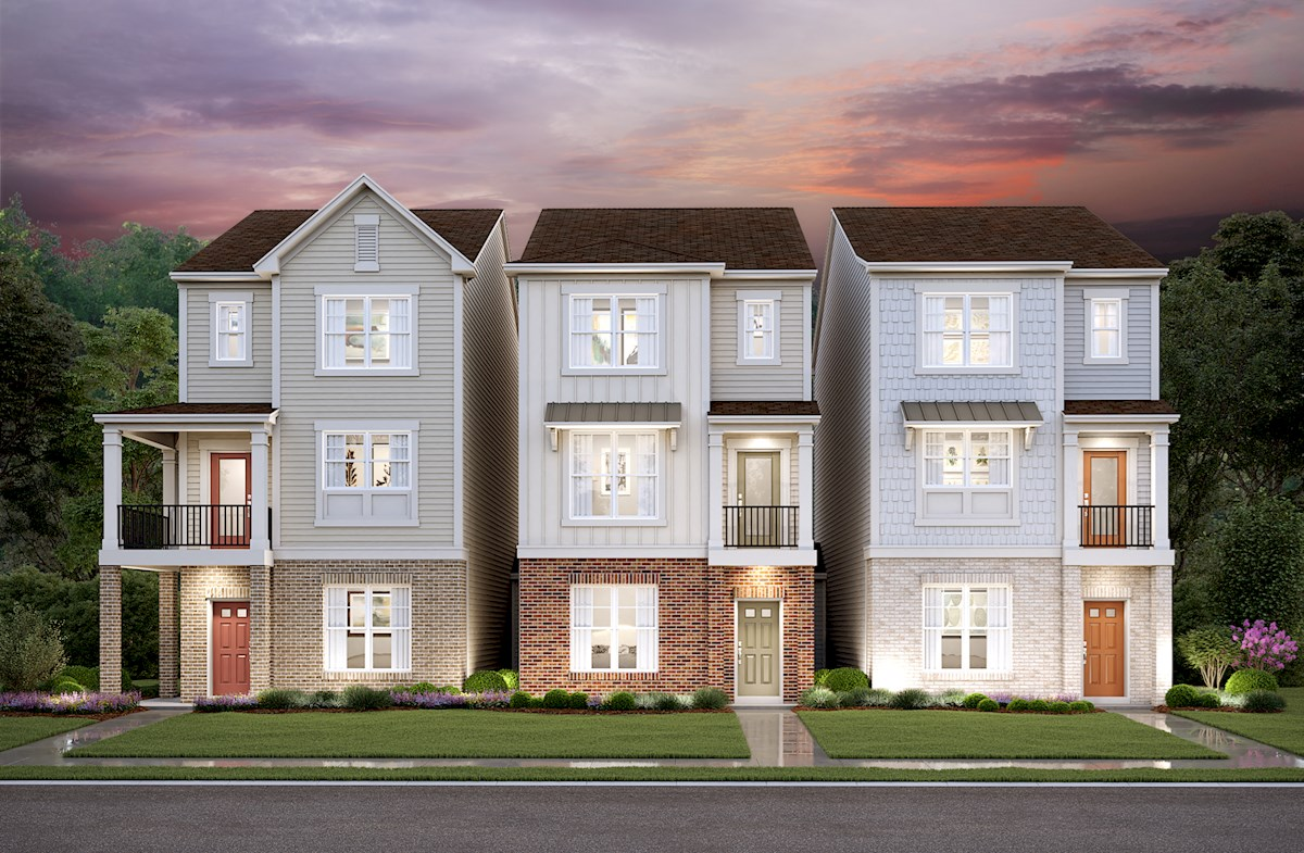 Three-story townhomes with two-car garage