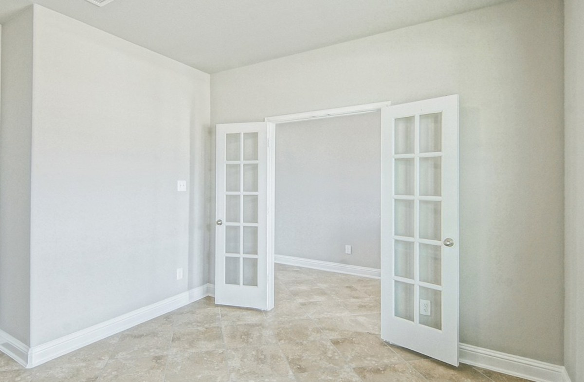 Armstrong quick move-in private study with tile flooring and French doors