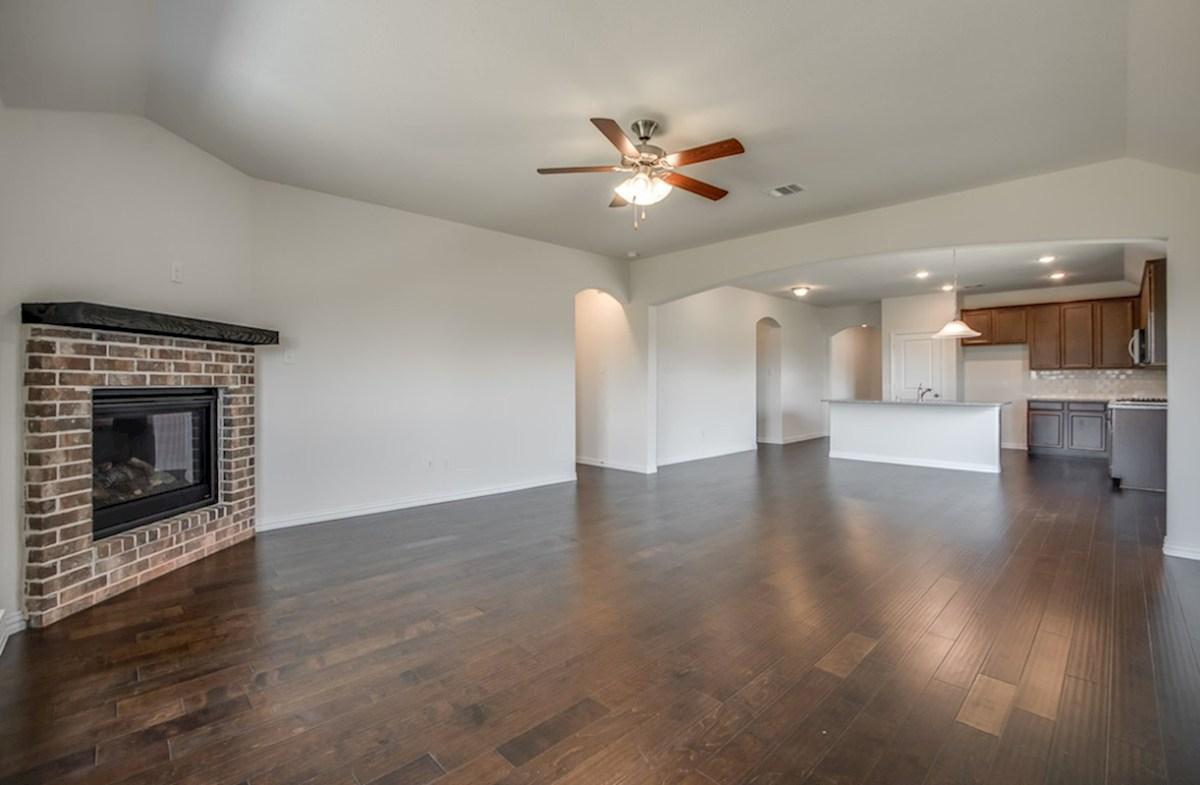 Silverado quick move-in Silverado great room with brick fireplace