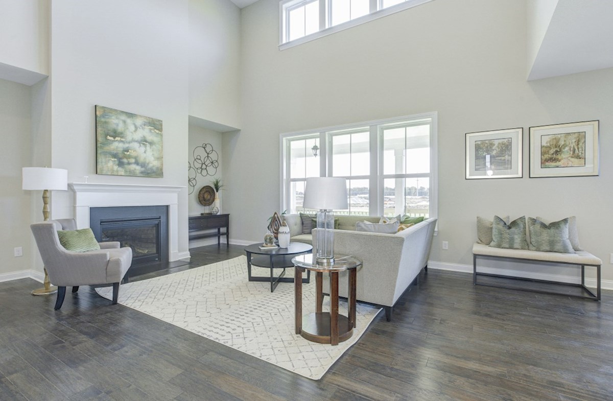 Hampshire Meridian Collection Keystone great room with cozy fireplace