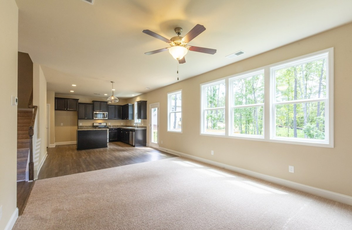 Milford Point Duval Open Concept Family Room with carpet