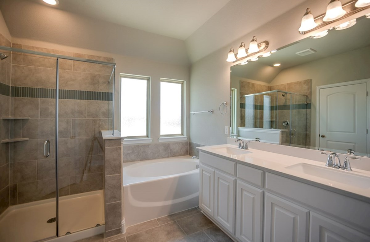 Whitney quick move-in master bath with separate tub and shower