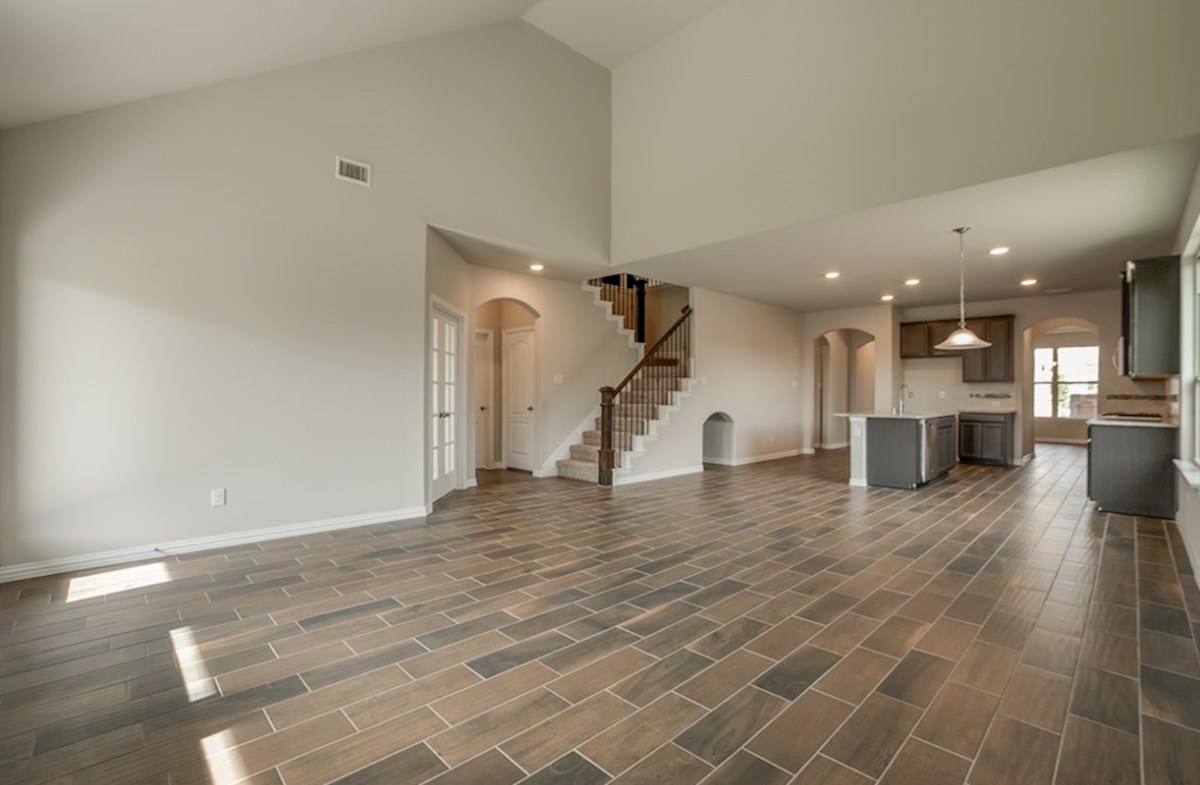 Prescott quick move-in open great room with ceiling fan