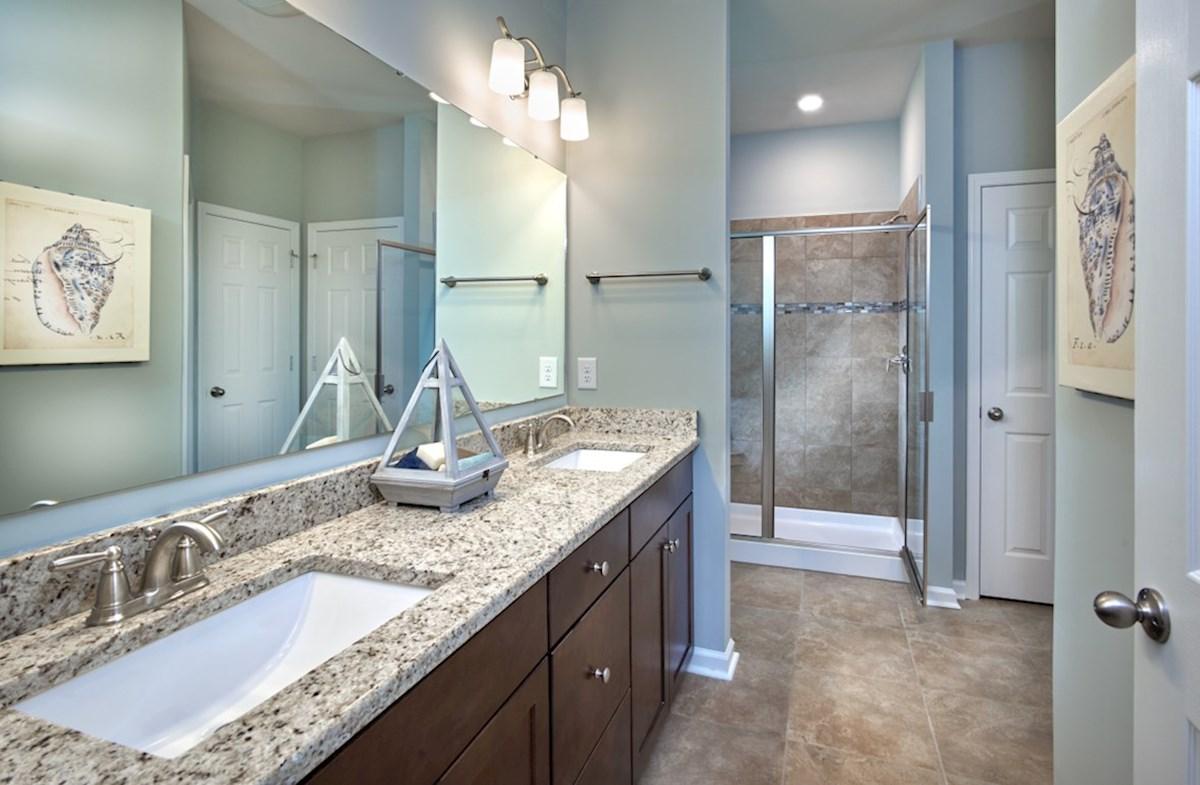 Surfside Plantation Camden master bathroom features dual shower and bathtub