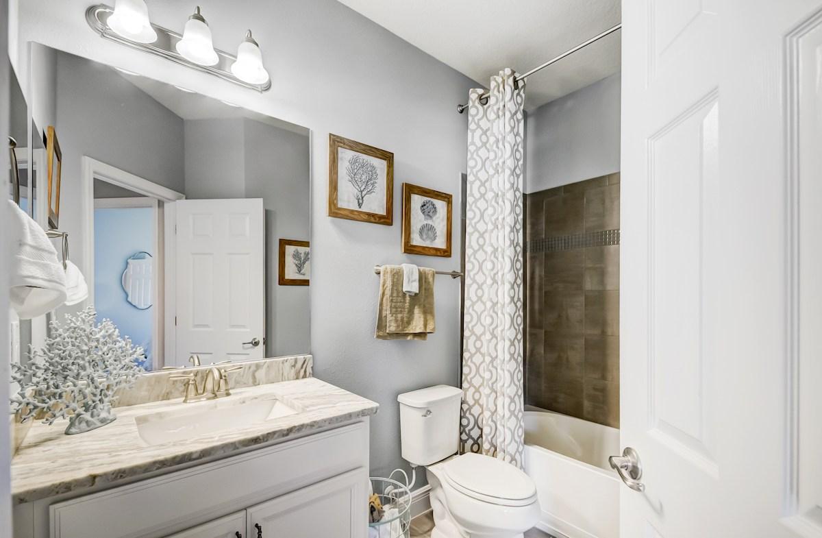 Aqua Solis Aruba - Exterior Full bathroom with raised height vanity and granite countertop