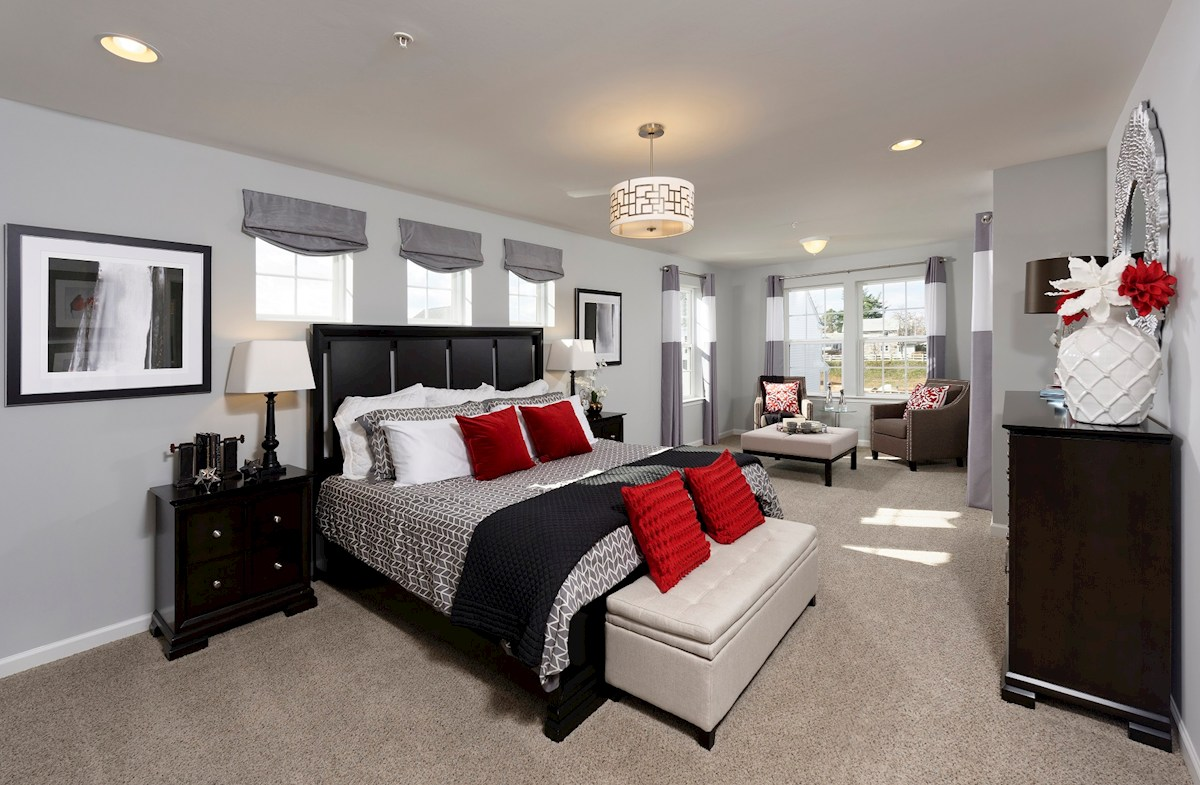 The Preserve at Windlass Run Townhomes  Oakland II  light-filled master bedroom